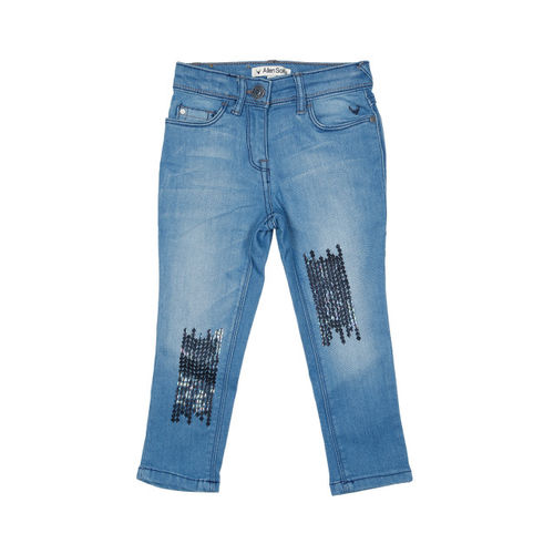 Allen Solly Junior Girls Blue Regular Fit Mid-Rise Clean Look Stretchable Jeans