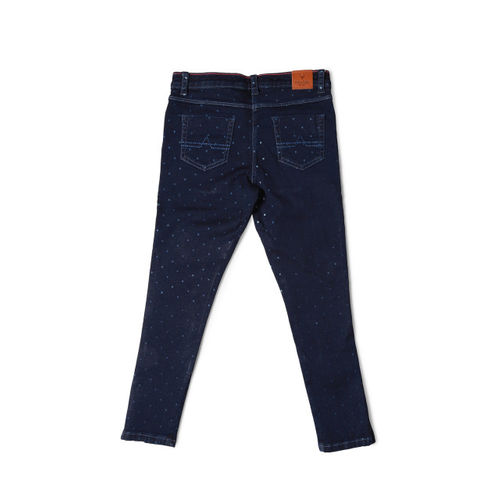 Allen Solly Junior Girls Navy Blue Regular Fit Mid-Rise Clean Look Stretchable Jeans