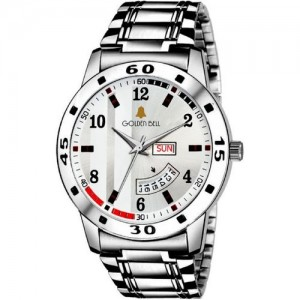 Golden Bell GB-1168 Classic Day & Date White Dial Silver Stainless Steel Strap Wrist Watch - For Men