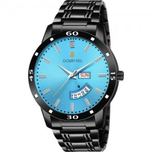 Golden Bell GBA-080 New Generation Blue Dial Black Stainless Steel Strap Day & Date Working Wrist Watch - For Men