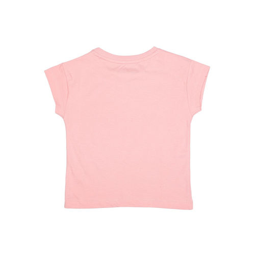 Allen Solly Junior Girls Pink Printed Round Neck T-shirt
