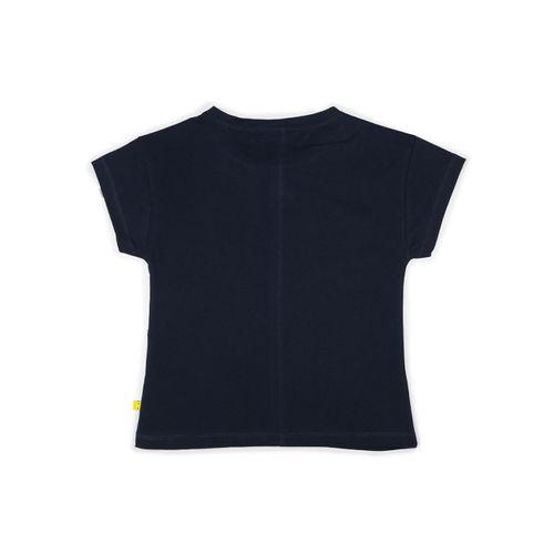 70540cd48 Buy Allen Solly Junior Girls Navy Blue Printed Round Neck T-shirt ...