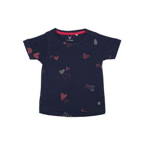 Allen Solly Junior Girls Navy Blue Printed Round Neck T-shirt