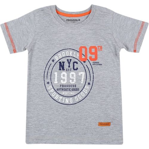 Provogue Boys Printed Cotton T Shirt(Grey, Pack of 1)