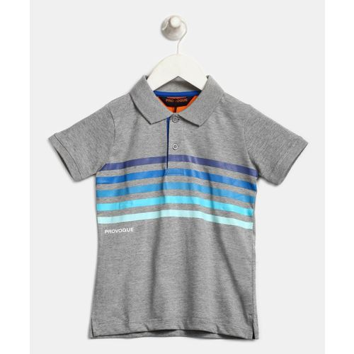 9da4c249b0 Buy Provogue Boys Striped Cotton Polyester Blend T Shirt(Grey, Pack of 1)  online | Looksgud.in