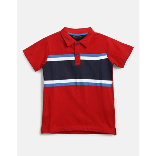 Provogue Boy's Striped Cotton T Shirt(Red, Pack of 1)