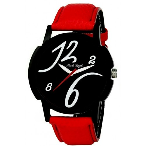 HWT Round Black Dial Red Leather Strap Analog Watch For Men