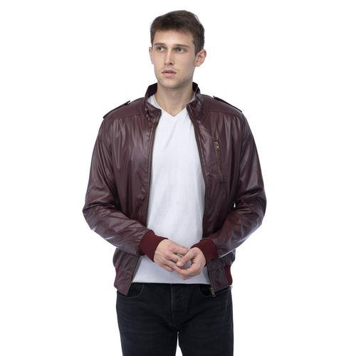 8d22cf99e Buy Lambency Men's Maroon Biker Jackets online | Looksgud.in