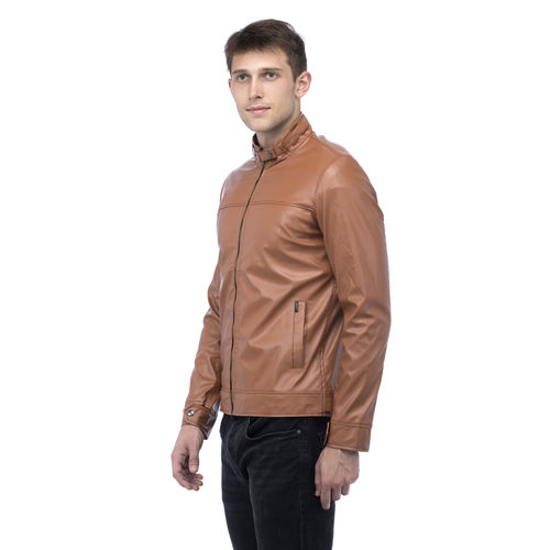 Lambency Men's Brown Biker Jackets