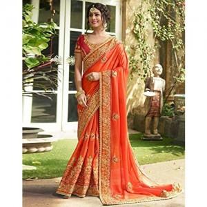 DesiButik Chinon Silk Saree With Blouse Piece (SD18423_Orange_Free Size)