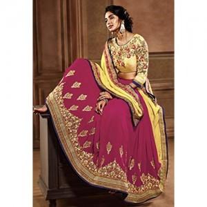 DesiButik's Alluring Raani And Yellow Silk And Georgette Half & Half Saree