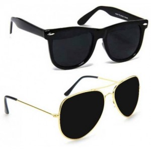 Meia  Black Wayfarer and Black Aviator Sunglasses