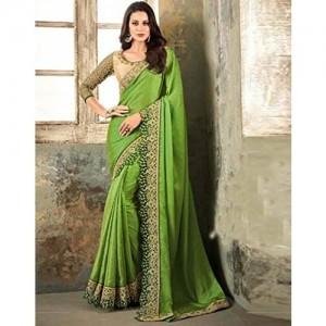 DesiButik's Party Wear Alluring Green Soft Silk Saree