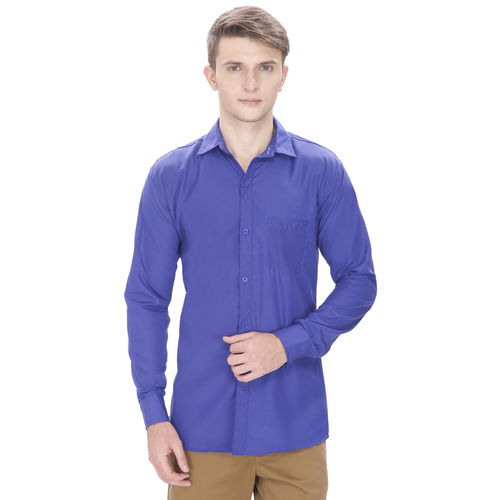 Routeen Men's Blue Slim Fit Casual Shirt