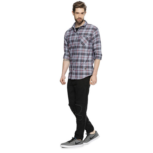 Campus Sutra Men's Grey Checks Casual Shirts