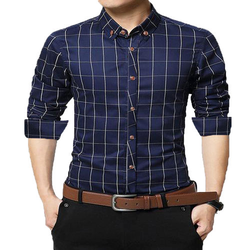 Gladiator Products GLADIATOR PRODUCTS TRENDY CHECK SHIRT NAVY 100 COTTON