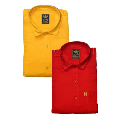Freaky Men's Plain Yellow Red Casual Slimfit Poly-Cotton Shirts