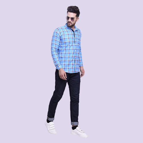 29K Men's Slim Fit Sky Checkered Cotton Casual Shirts