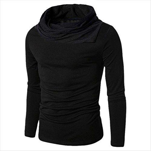 Pause Men's Black Cowl Neck Full Sleeves Cotton Blended Plain T-shirt