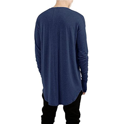 PAUSE Black Solid Cotton Round Neck Slim Fit Full Sleeve Men's T-Shirt