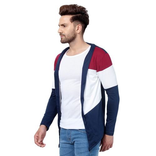 Pause PAUSE Black Solid Cotton Slim Fit Full Sleeve Men's Cardigan T-Shirt