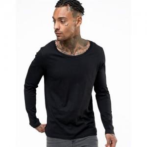 Pause PAUSE Black Solid Cotton Scoop Neck Slim Fit Long Sleeve Men's T-Shirt