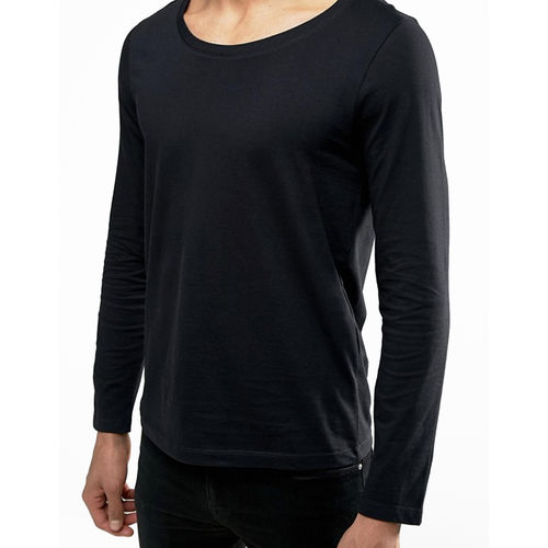Pause PAUSE Black Solid Cotton Scoop Neck Slim Fit Long Sleeve Men's T-Shirt