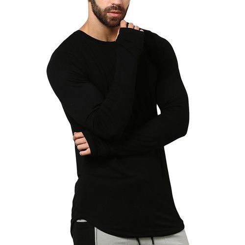 PAUSE Black Solid Cotton Round Neck Slim Fit Long Sleeve Men's T-Shirt