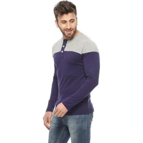 b7fa8cf21 Buy Gritstones Dark Blue, Grey Solid Men's Round Neck T-Shirt online ...