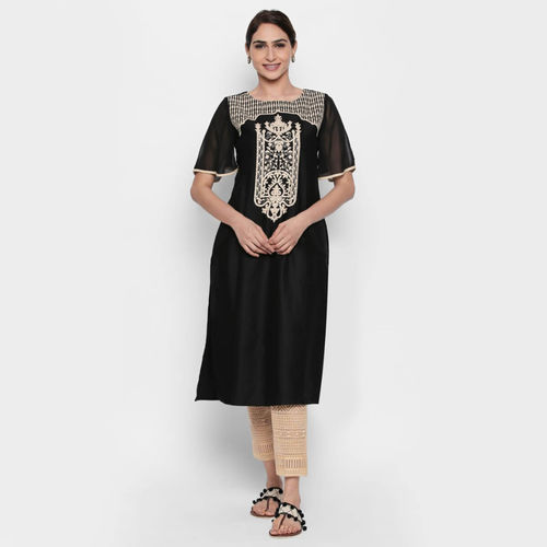 naari NAARI Women's Black Embroidered Cotton Stitched Kurti