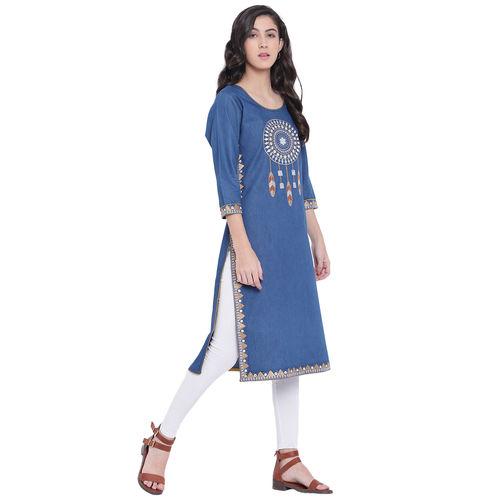 Pinky Pari Denim Embroidered Straight Fit Blue Kurta