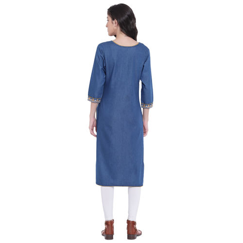 Pinky Pari Denim Embroidered Straight Fit Blue Kurta