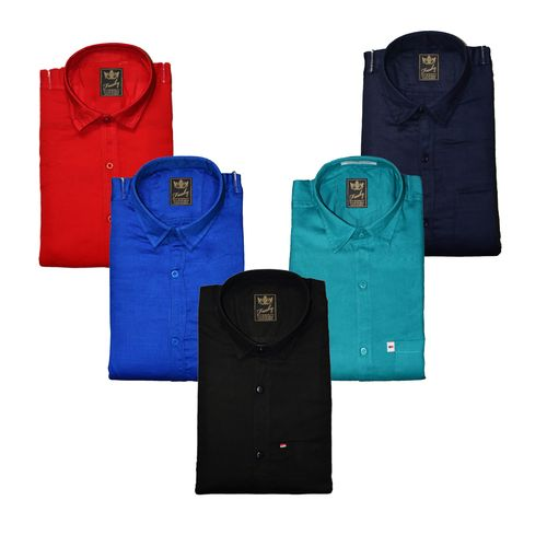 Freaky Men's Plain Casual Slimfit Poly-Cotton Full Sleeves Shirts (Pack Of 5)