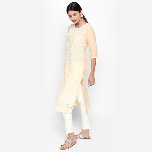 naari NAARI Women's Beige Embroidered Cotton Stitched Kurti