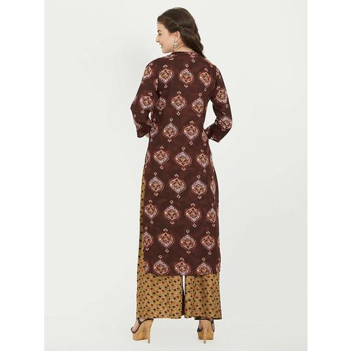 Vaikunth Fabrics Brown color and Rayon fabric Kurti and palazoo set for womens VF-KU-221