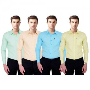 Black Bee Slim Fit Casual Poly-Cotton Shirt for Men Pack Of 4