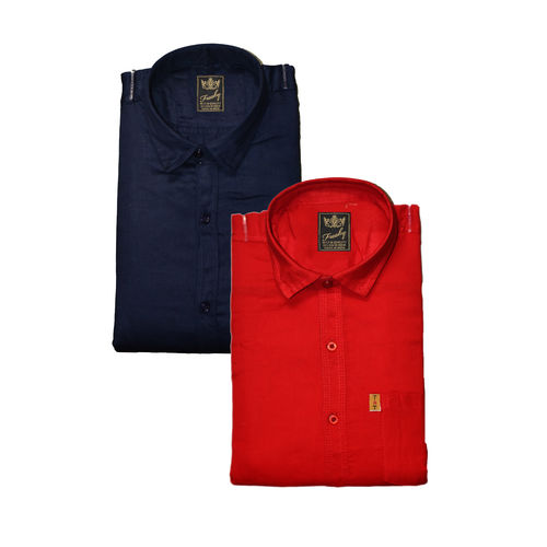 Freaky Men's Plain Navy & Red Casual Slimfit Poly-Cotton Shirts