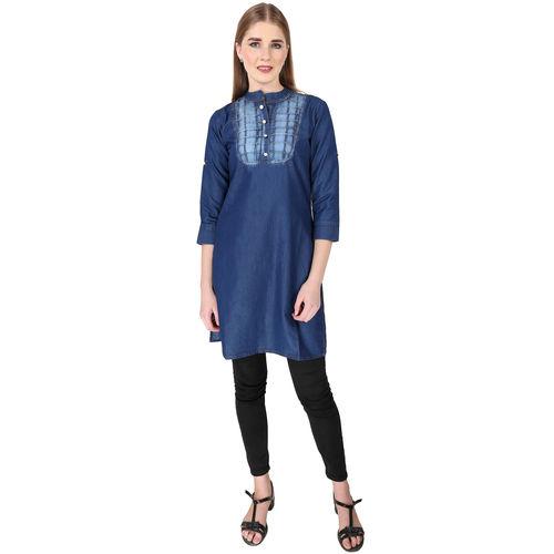 4971100b6 ... Buy Different Denim A-line Women's Self Design 3/4th Sleeves Mid Kurti  ...