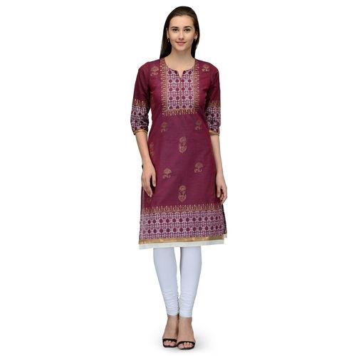 9d4417f0c ... Varkha Fashion Women's Maroon Block Print Cotton Stitched Kurti ...