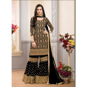 Salwar Soul Black Georgette Sharara Style Palazzo Suit