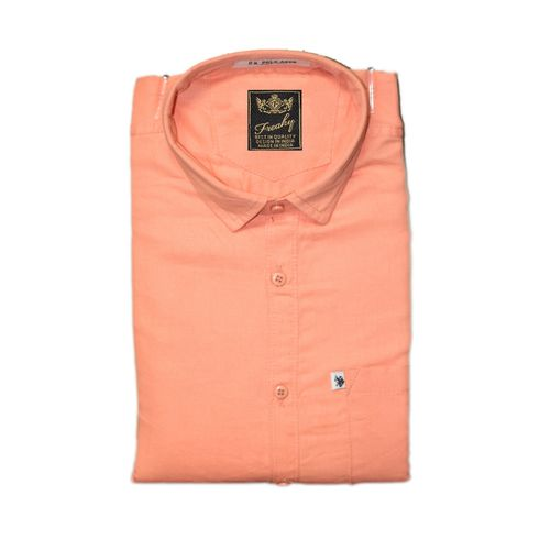 Freaky Pack Of 3 Plain Casual Slimfit Poly-Cotton ShirtsPinkPeachLemon