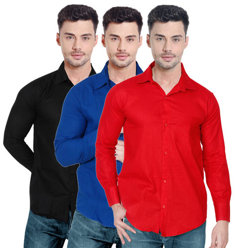 Spain Stylees Men's Multicolor Regular Fit Casual Shirt (Pack Of 3)