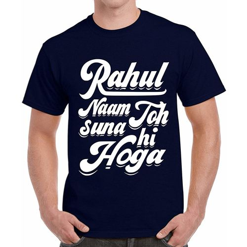 Double F DOUBLE F ROUND NECK HALF SLEEVE NAVY BLUE COLOR RAHUL NAAM TO SUNA HI HOGA PRINTED T-SHIRTS