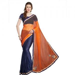 Florence Polka Print Fashion Lycra Saree(Orange, Blue)