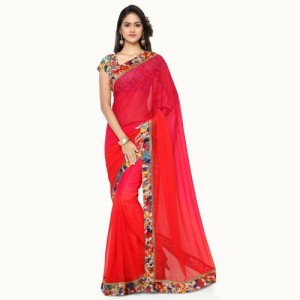 Florence Solid Fashion Faux Georgette Saree(Red)