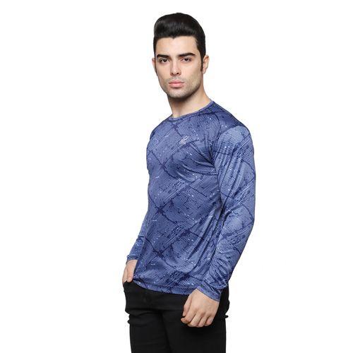 ISHU iSHU Blue Printed Round Neck Full SleeveT-Shirt
