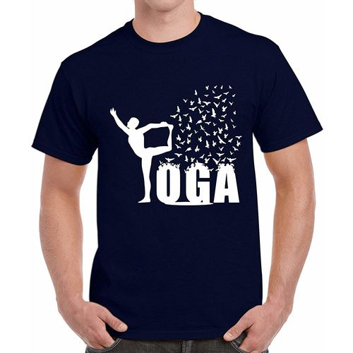 Double F DOUBLE F ROUND NECK HALF SLEEVE NAVY BLUE COLOR YOGA PRINTED T-SHIRTS