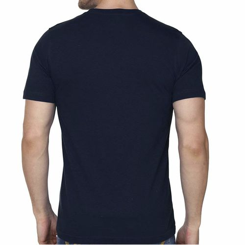 Double F DOUBLE F ROUND NECK HALF SLEEVE NAVY BLUE COLOR JO HUMSE JALE VO THODA SIDE SE CHALE PRINTED T-SHIRTS