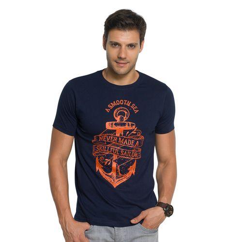 Zorchee Men's Round Neck Half Sleeve Cotton T-Shirts Navy