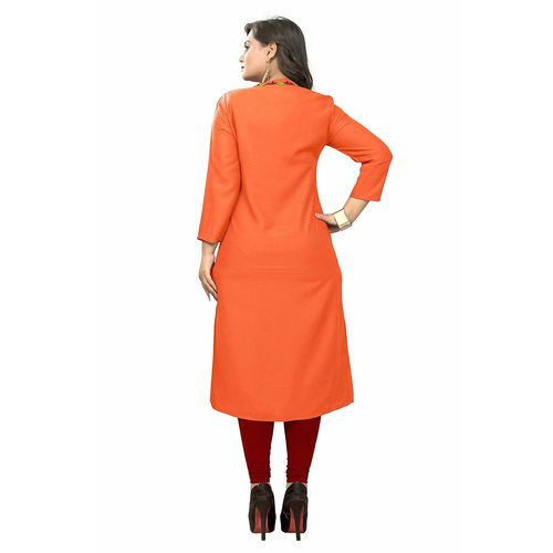 Vaikunth Fabrics Kurti In Orange Color And Rayon Fabric For Womens VB-KU-177